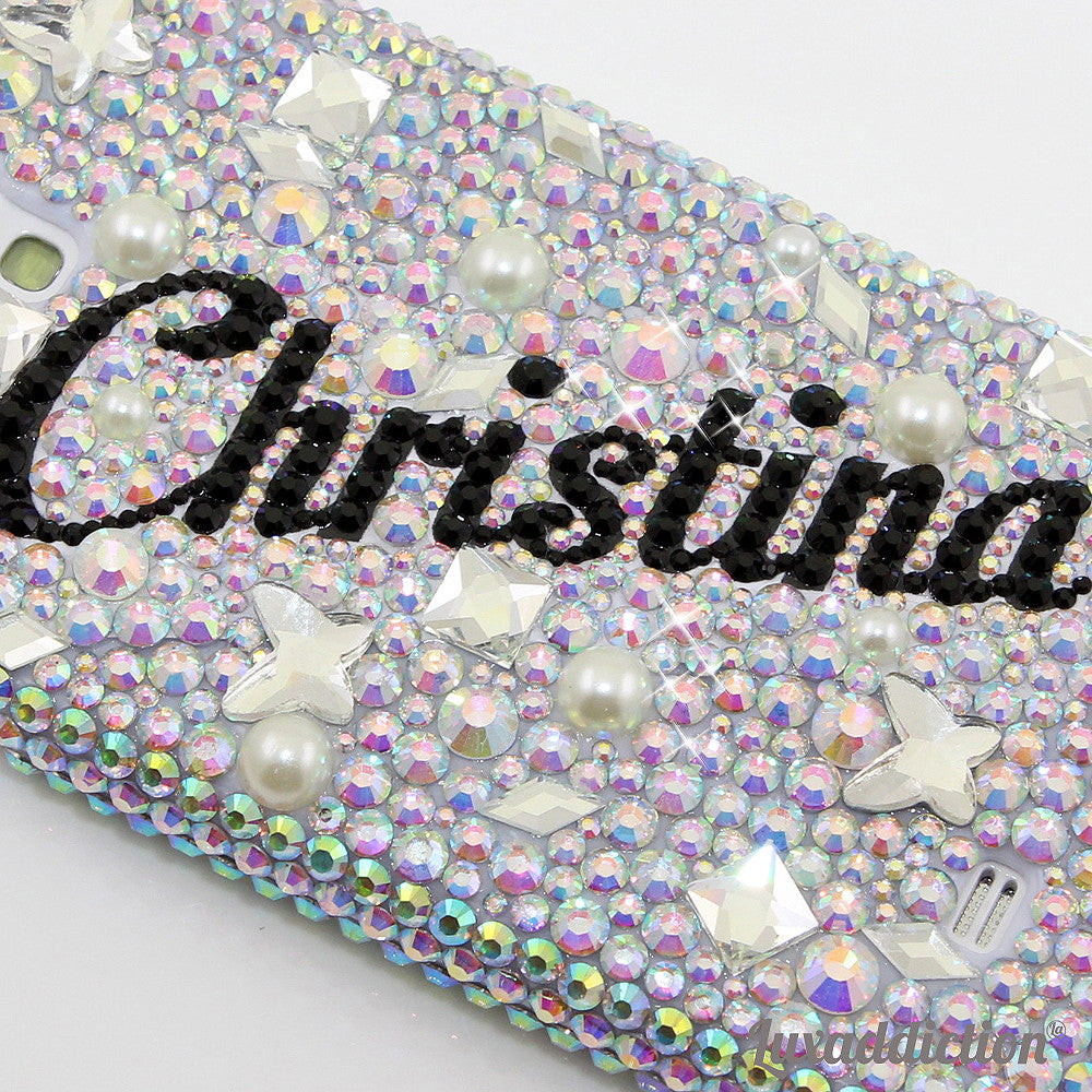 AB Clear Crystals Personalized Name & Initials Design case made for Samsung Galaxy S4