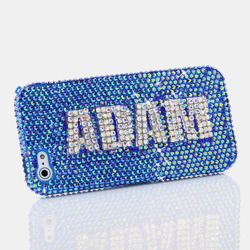 Blue with Clear Diamonds Personalized Name & Initials Design case made for iPhone 5 / 5S