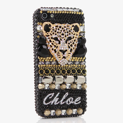 3D Black Cheetah Personalized Name & Initials Design (style PN_1037)