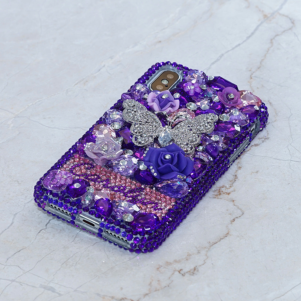 Purple Butterfly bling iphone x case