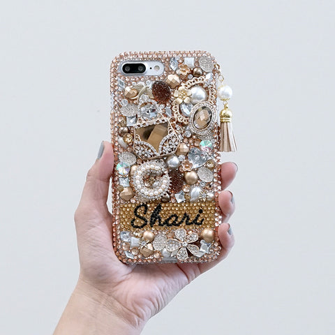 gold crystals iphone 7 plus case