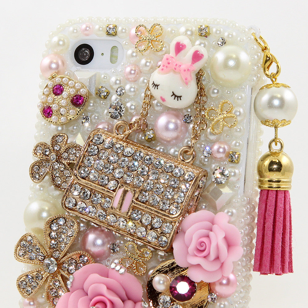 Pearls and Purse Personalized Name & Initials Design with Tassle case made for iPhone 5 / 5S