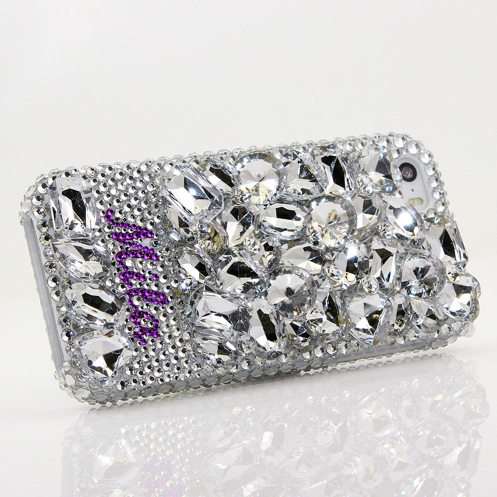 Diamond Stones Personalized Name & Initials Design case made for iPhone 5 / 5S