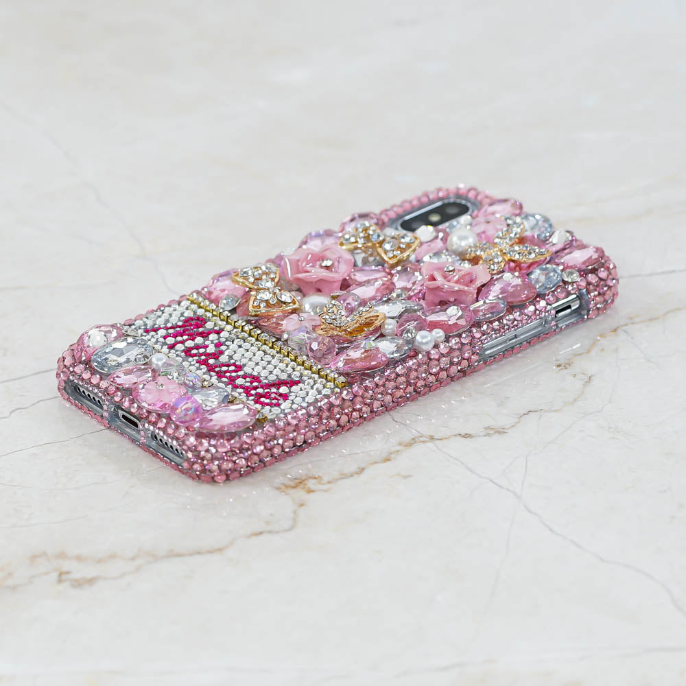 pink crystals iphone xr case