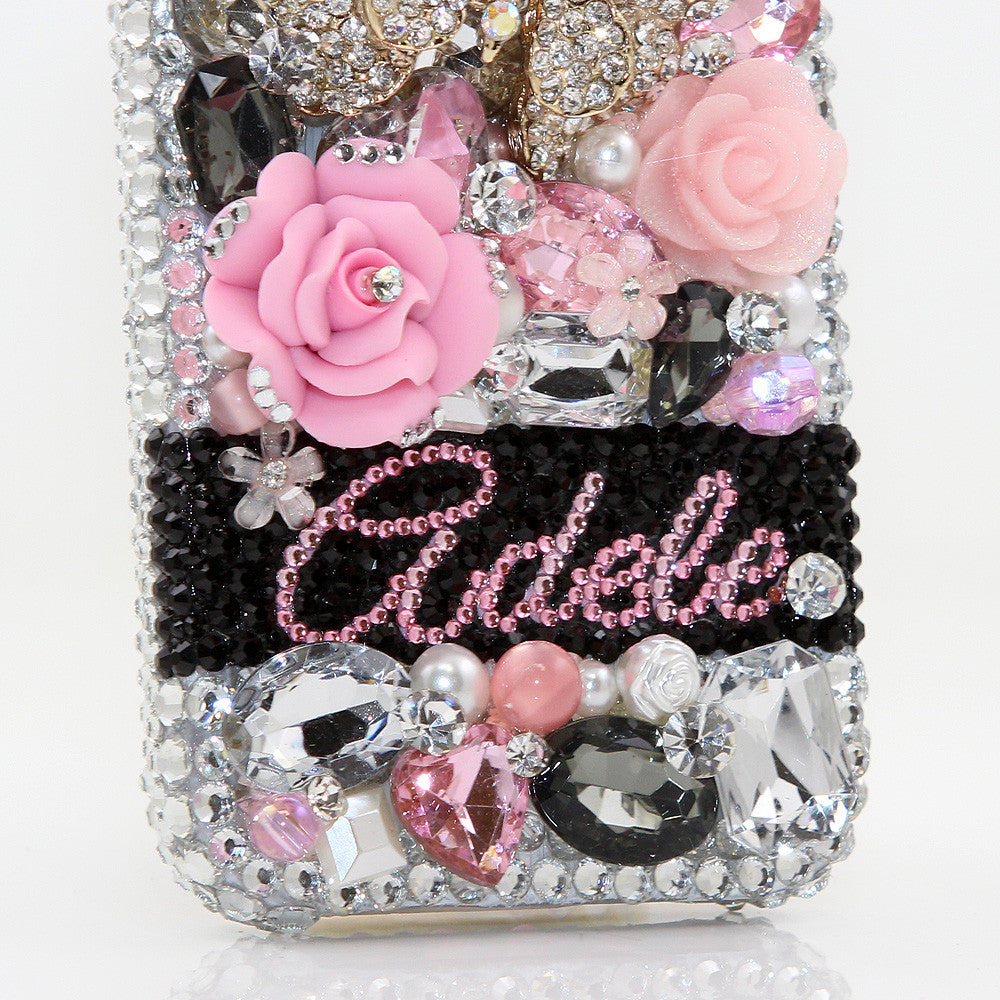 Diamond Butterfly Personalized Name & Initials Design case made for iPhone 5 / 5S