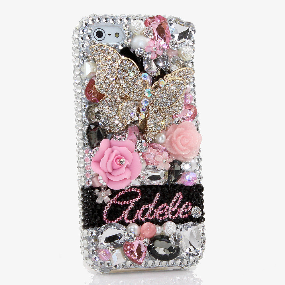 Bling cases personalized name custom made crystals for Name style design