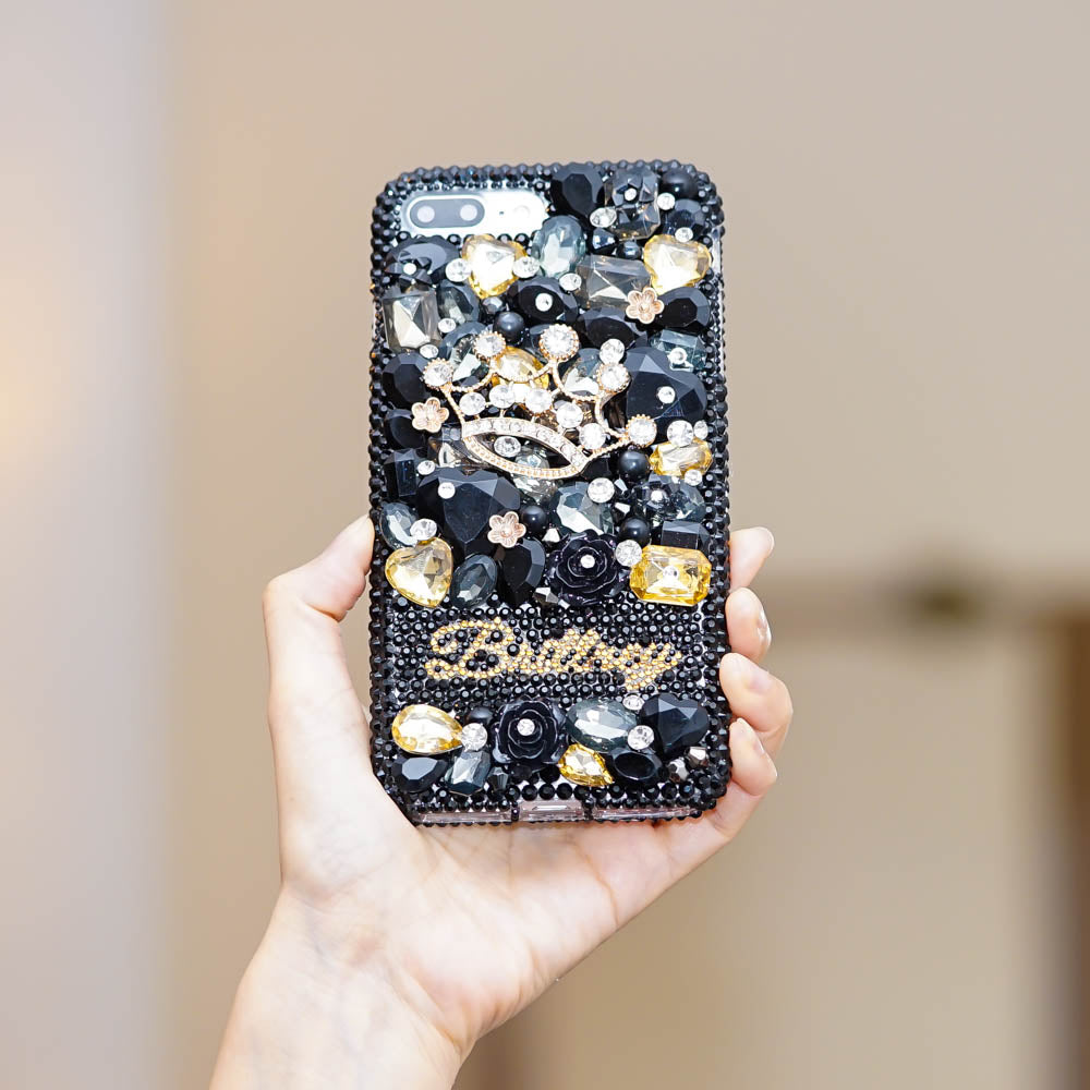 jet black crystals iphone xs max case