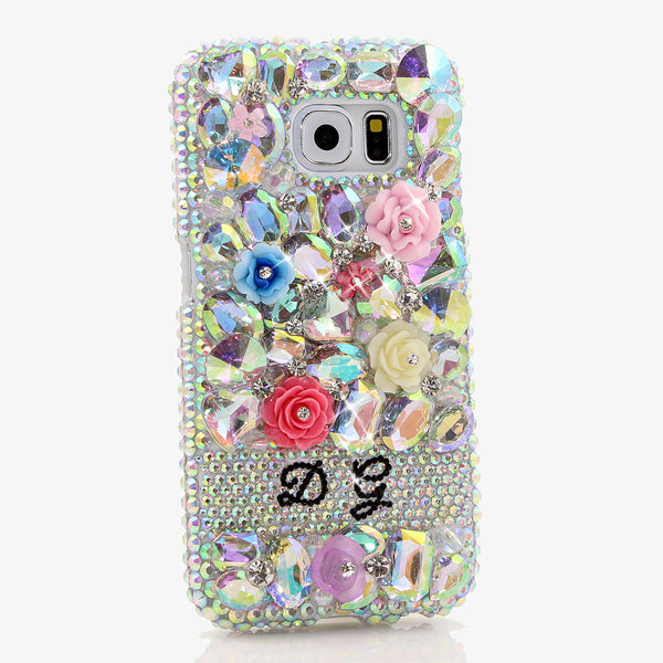 AB Stones and Florals Personalized Name & Initials Design case made for Samsung Galaxy S6