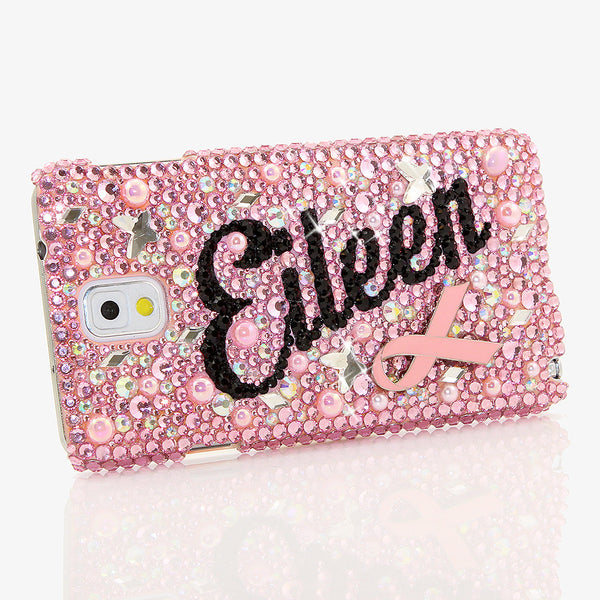 Pink Ribbon Perseverance Personalized Name & Initials Design case made for Samsung Note 4