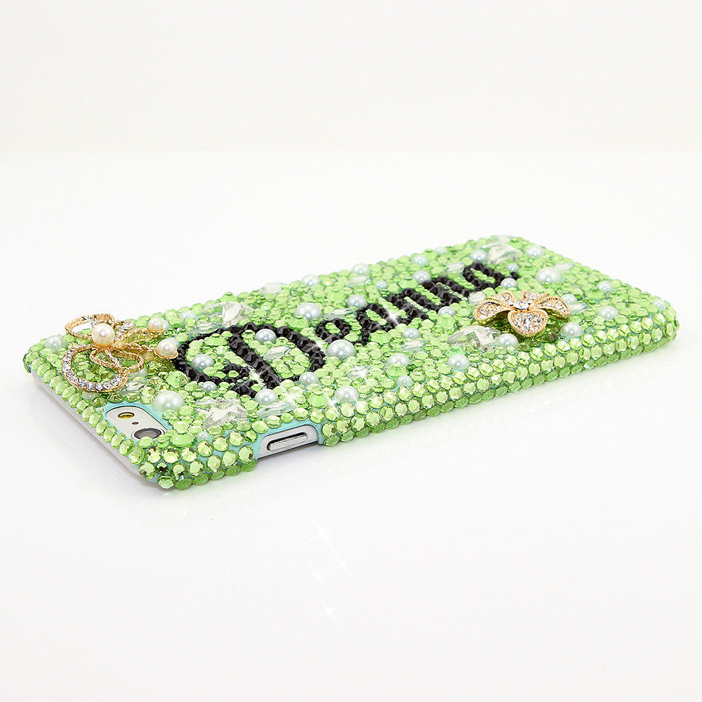 GLITTER, GREEN, & GORGEOUS GLEAM Personalized Name & Initials Design case made for iPhone 6 / 6s Plus