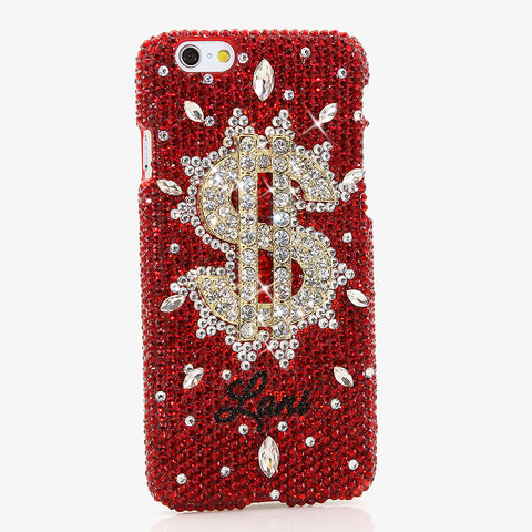 RATIONALLY RED W/ DOLLARS & SENSE Personalized Name & Initials Design case made for iPhone 6 / 6s Plus