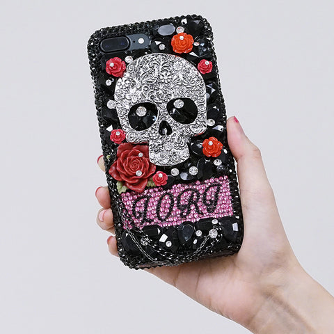 skull and roses iphone 7 plus case