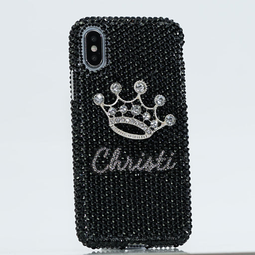 Jet Black Crystals iPhone Xs case