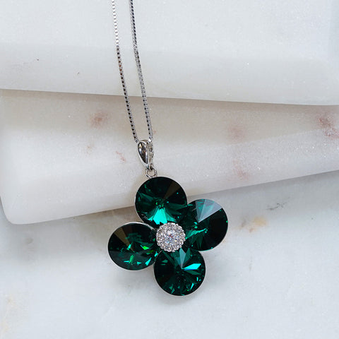 Green Four Leaf Clover Swarovski Crystals Necklace