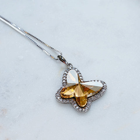 Champagne Gold Butterfly Swarovski Crystals Necklace