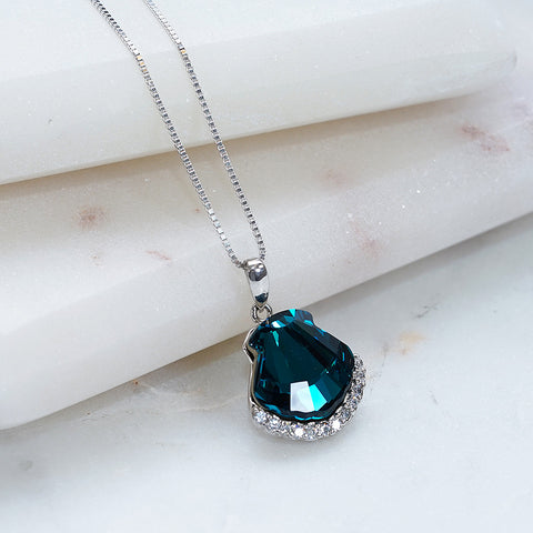 Blue Shell Swarovski Crystals Necklace