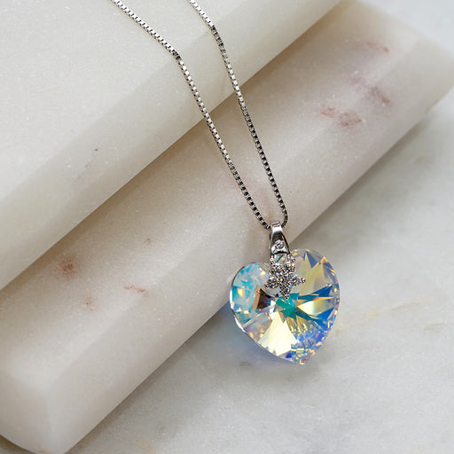Love Heart Aurobra Borealis Swarovski Crystals Flower Necklace