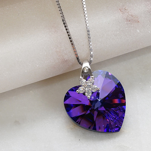 Love Heart Purple Swarovski Crystals Flower Necklace
