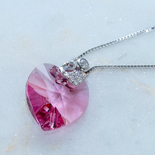 Love Heart Light Pink Swarovski Crystals Swan Necklace