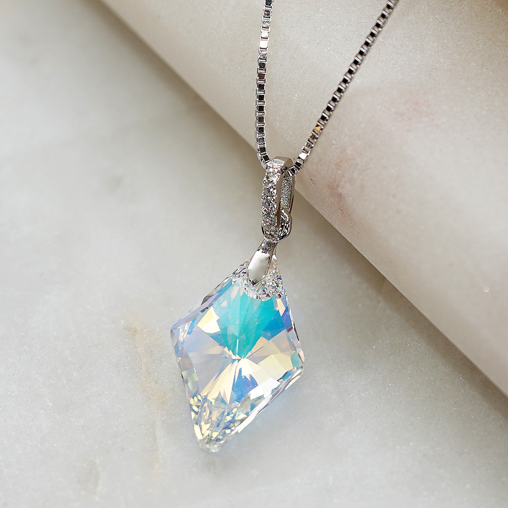 4cde8e4d038f0 Aurora Faceted Rhombus Borealis Swarovski Crystals Necklace