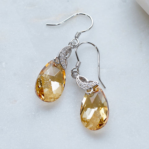 Champagne Yellow Swarovski Crystals Teardrop Dangle Earrings