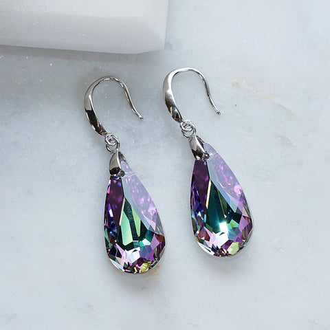 Purple Swarovski Crystals Teardrop Shape Hook Earrings