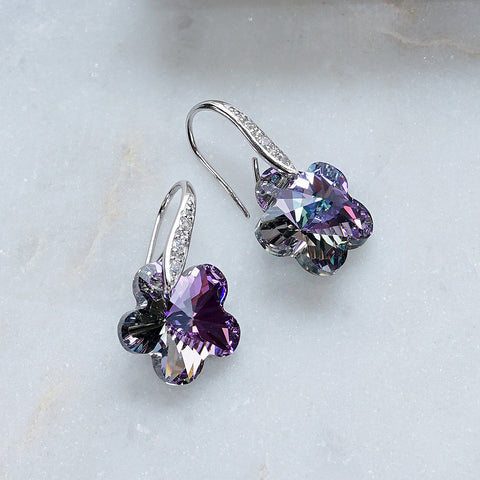 Purple Rivoli Flower Swarovski Crystals Hook Earrings
