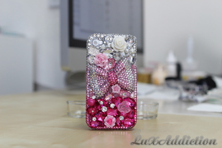 Clear and Pink Bow Design case made for iPhone 4 / 4S