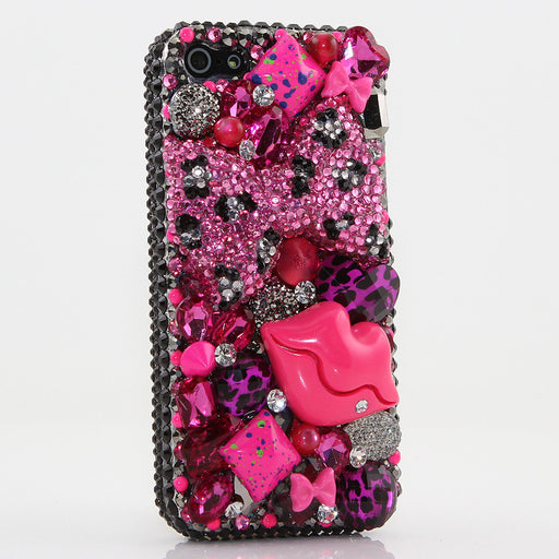 Pink Leoparrd Bow and Lips Design case made for iPhone 5 / 5S