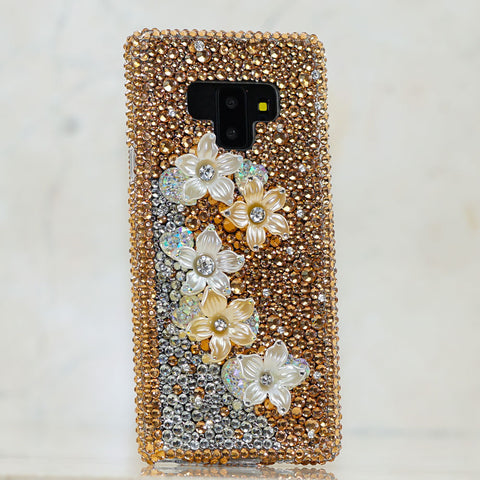 Gold crystals flower Samsung Galaxy S9 Plus case