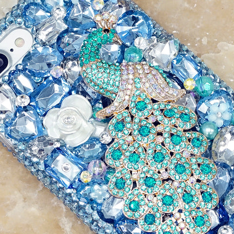 aqua peacock bling iphone 7 / 8 plus case