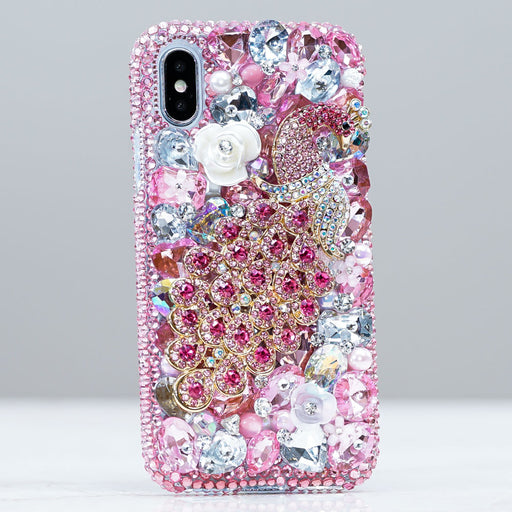pink peacock iphone xs case