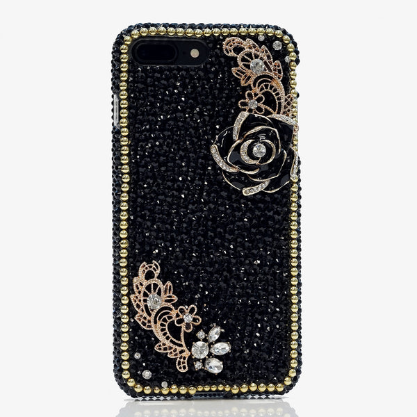 jet black crystals iphone 7 plus case