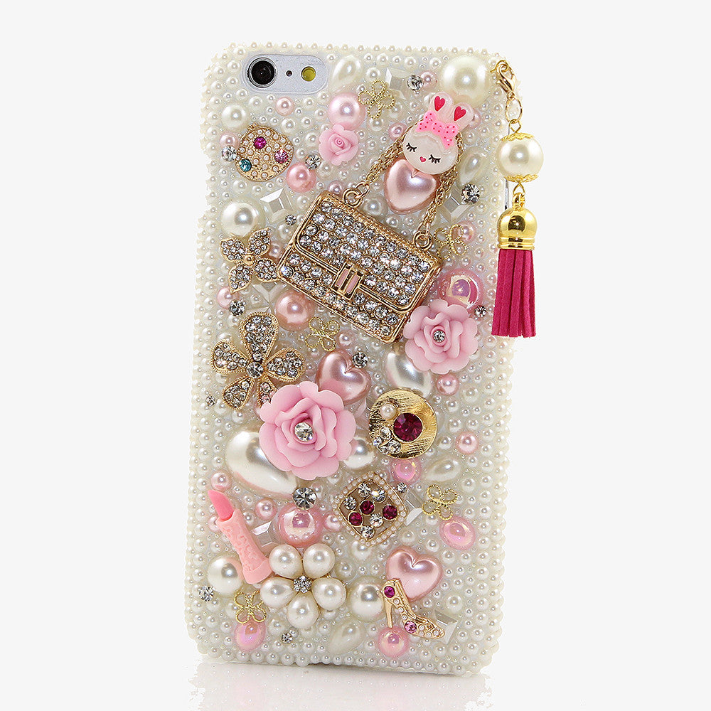 Pearls and Purse With Tassel Design case handmade for iPhone 6s Plus