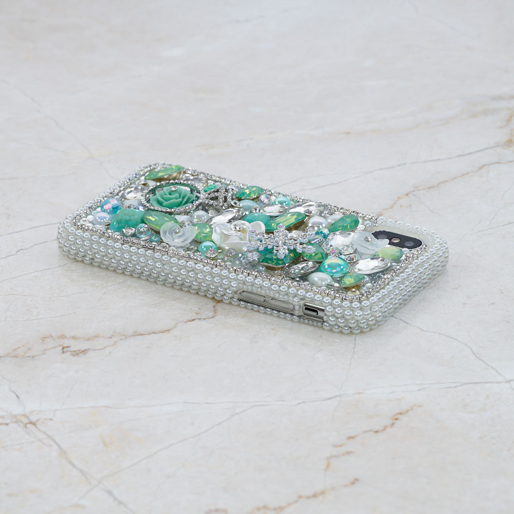 teal crystals iphone xs max case