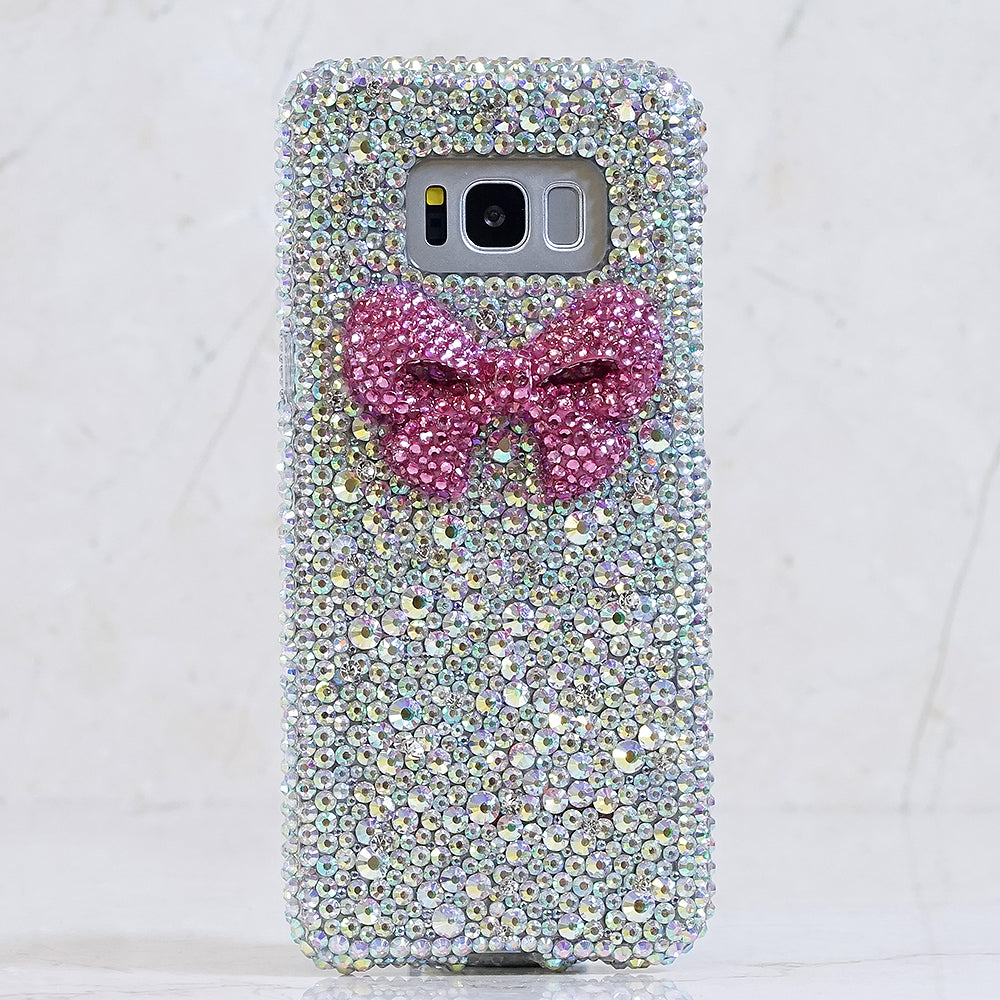 reputable site ed1dc 064cf 3D Pink Bow with Aurora Borealis Crystals Design (Style 862)