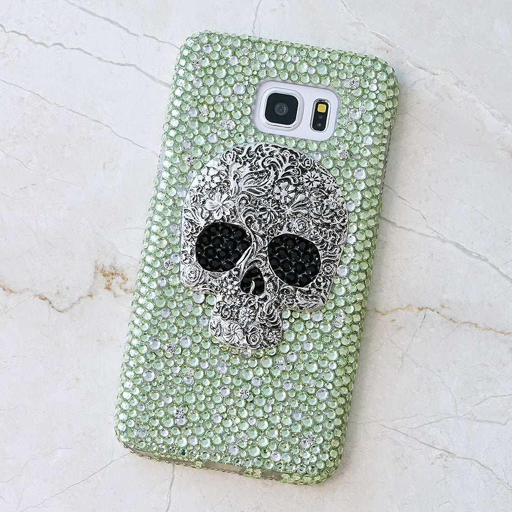 Large Skull with Lime Green Background Design (Style 866)