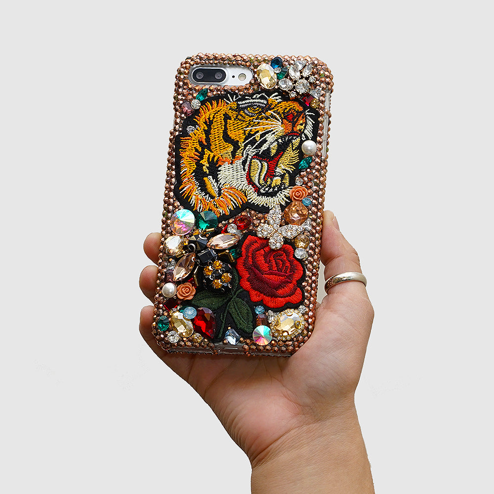 tiger and rose tattoo phone case