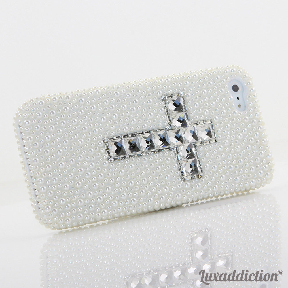 White Pearl Cross Design case made for iPhone 5 / 5S