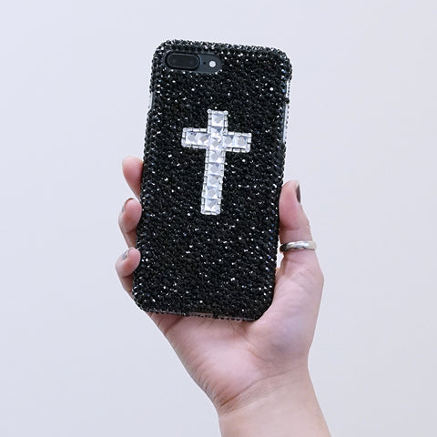 Jet black crystals with cross iphone 7 / 8 plus case