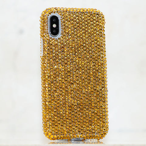 Gold crystals bling iphone Xs case