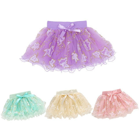 Tulle Tutu Floral Skirt with a Bowknot