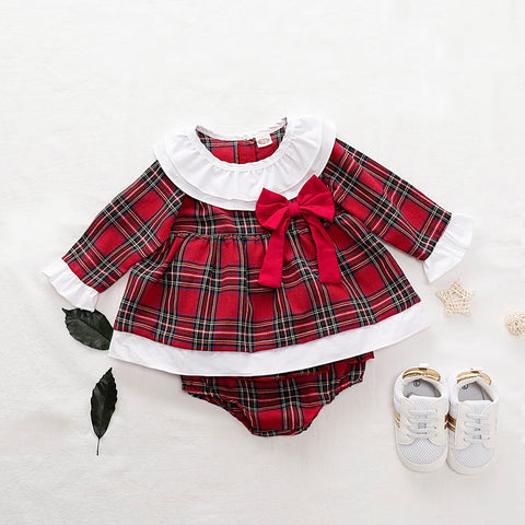 Newborn Baby Girls Ruffles Red Plaid Christmas Dress