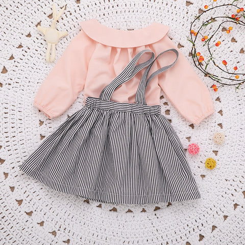 Baby/Toddler Girl Suspender Skirt with Long Sleeve Doll Collar Top