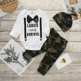 Baby Boy Long Sleeve Bodysuit with Bow Tie, Pants, & a Hat