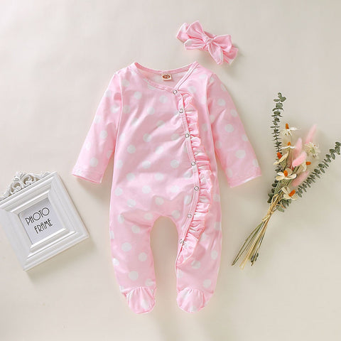 Baby Girl Footed Pink Ruffled Romper with Headband