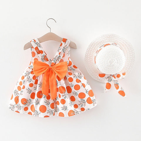 Sleeveless Strap Dot Print Bow Princess Dress with Hat