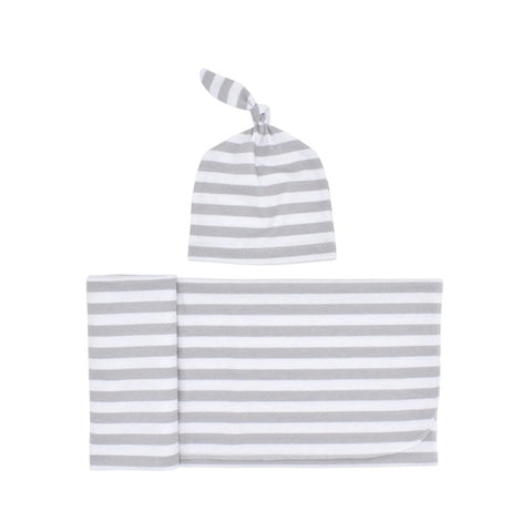 Baby Striped Swaddle Blanket with Cap