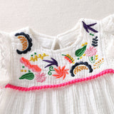 Baby Girl Sleeveless Embroidery Ruffled Princess Floral Dress
