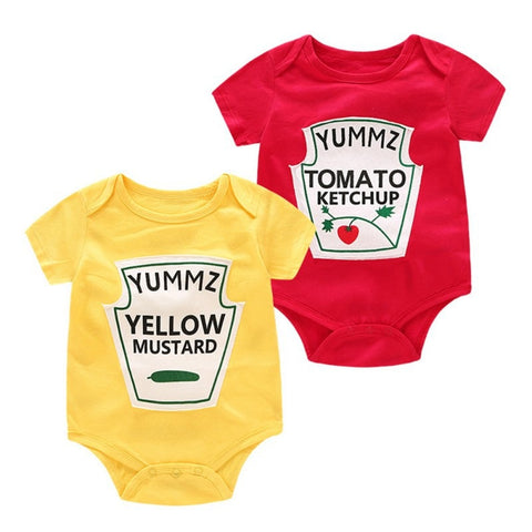 Twins Baby Boy Girl Ketchup & Mustard Bodysuit Rompers